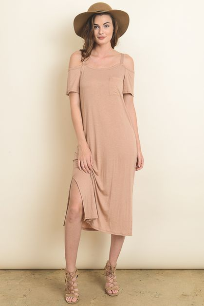 Linen cold shoulder midi dress - orangeshine.com
