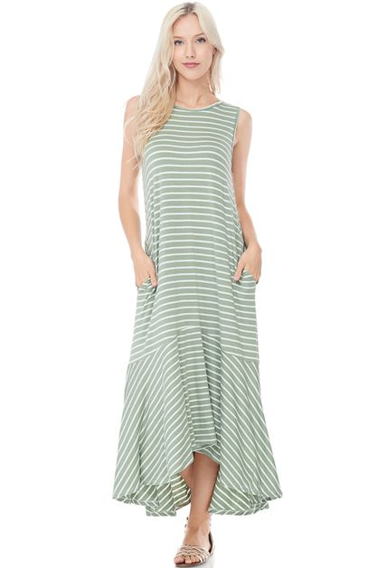 HIGH LOW SWING STRIPED MAXI DRESS - orangeshine.com