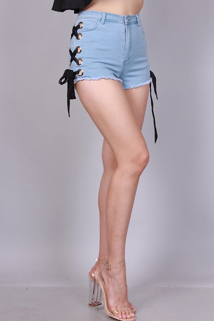 HIGH WAIST DENIM SHORTS WITH LACE UP - orangeshine.com