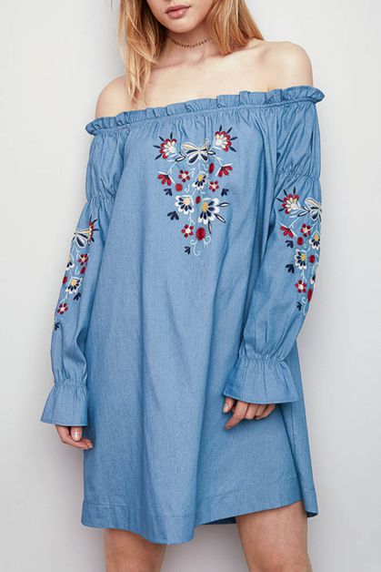 EMBROIDERED DENIM DRESS - orangeshine.com