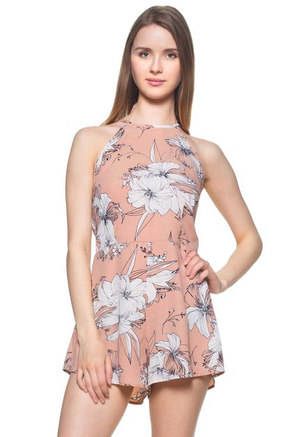 High neck Floral Romper - orangeshine.com