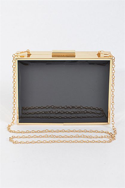 Shiny Edged Rectangle Clutch - orangeshine.com