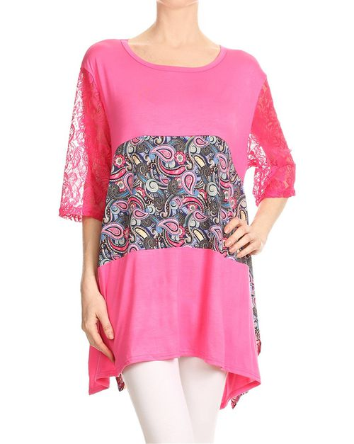 Print lace tunic top - orangeshine.com