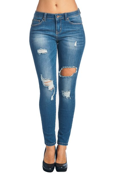 Distressed Skinny Denim - orangeshine.com