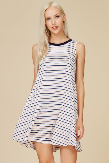 STRIPED SHIFT DRESS - orangeshine.com
