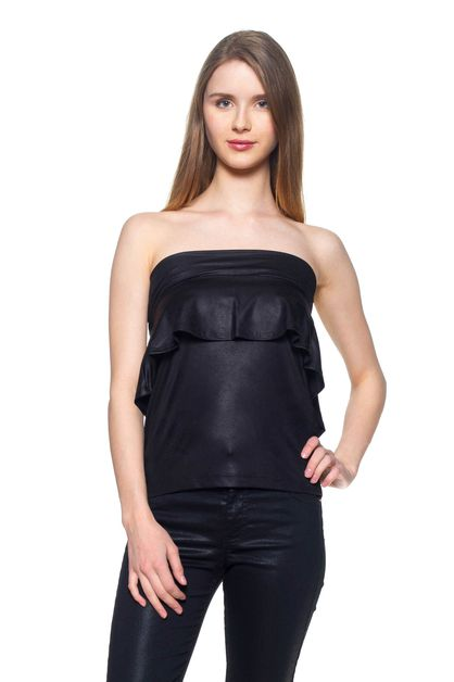 Vegan Leather Ruffle Back Top - orangeshine.com