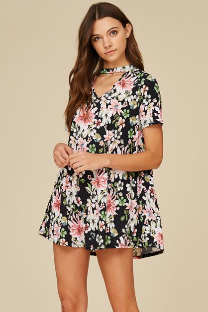 MOCK NECK FLORAL DRESS - orangeshine.com