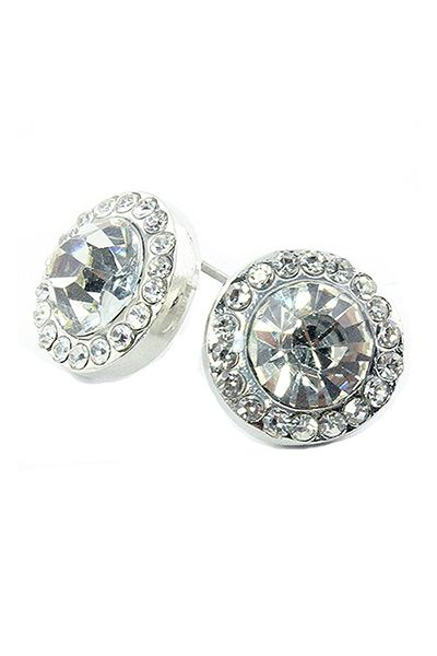 Glass Crystal Stud Earrings  - orangeshine.com