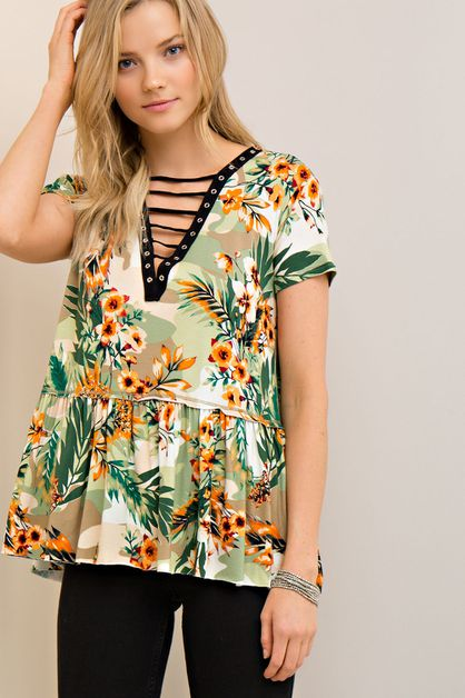 Tropical Print Jersey Top - orangeshine.com
