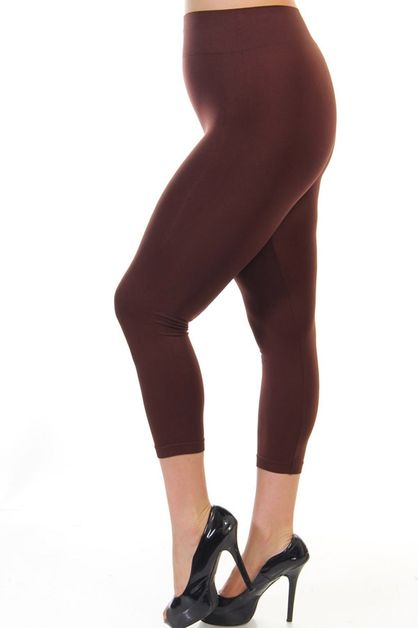 PLUS SIZE SOLID CAPRI LEGGINGS - orangeshine.com