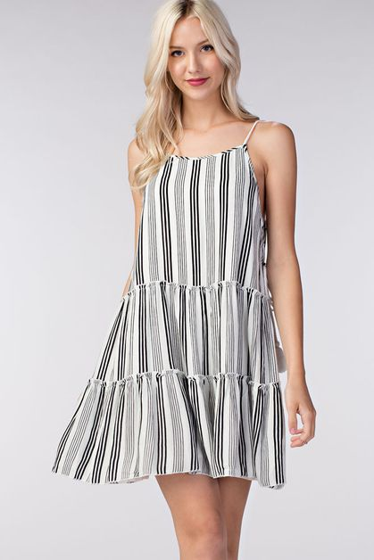 STRIPED TIERED DRESS - orangeshine.com