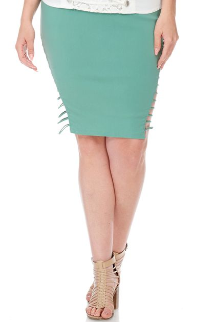 SIDE STRAP PENCIL PLUS SKIRT - orangeshine.com