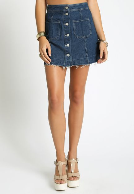 RAYED HEM A-LINE DENIM SKIRT - orangeshine.com