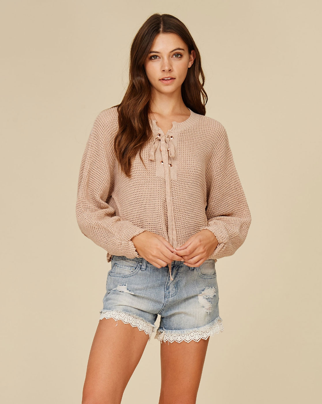 LISTICLE Wholesale Knit Crochet Lace Up Cropped Sweater ...