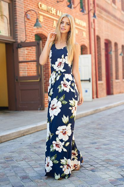 FLORAL PRINT SLEEVELESS MAXI DRESS  - orangeshine.com