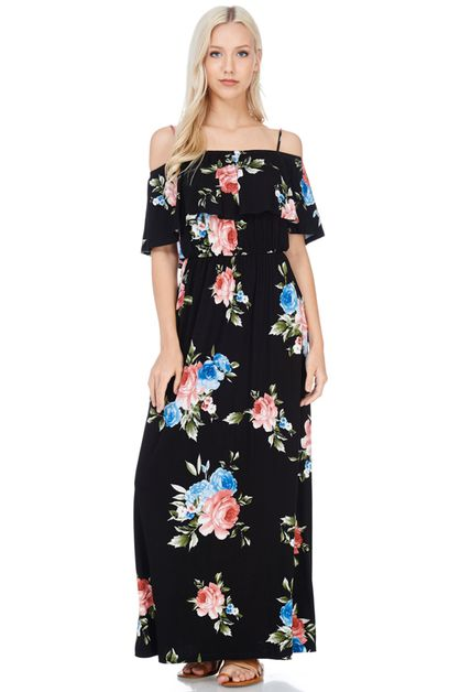 FLORAL PRINT OFF-SHOULDER MAXI DRESS - orangeshine.com