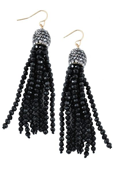 Crystal Beaded Tassel Earrings - orangeshine.com