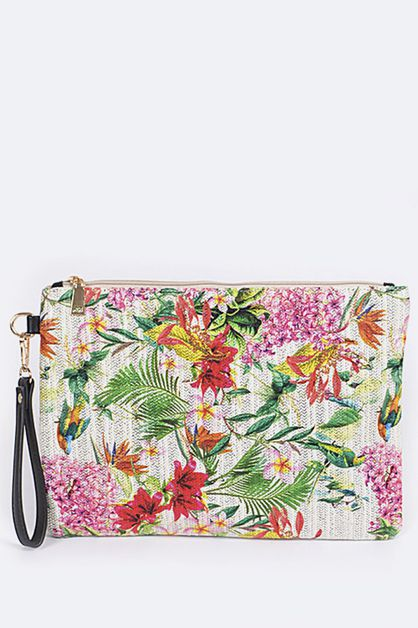 Tropical Flowers Wristlet Pouch - orangeshine.com
