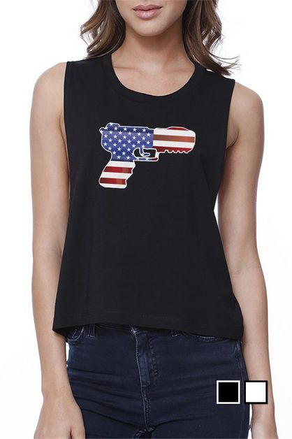 AMERICAN FLAG PISTOL Crop Top - orangeshine.com