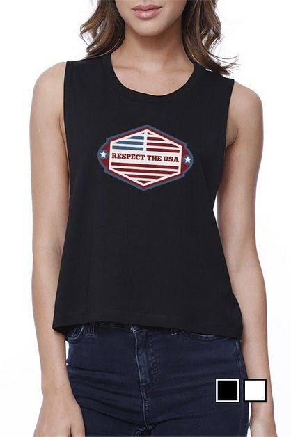 RESPECT THE USA Crop Tee - orangeshine.com