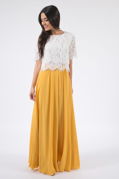 Yellow Flowy Maxi Skirt - orangeshine.com