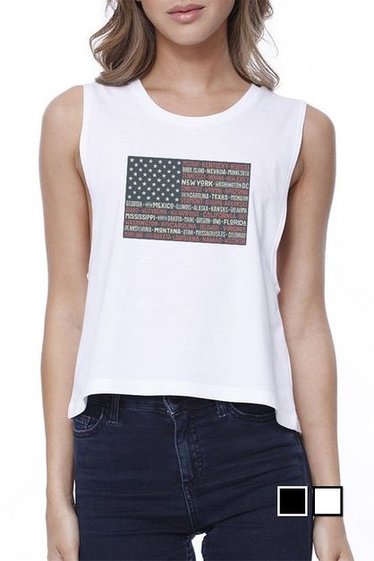 50 STATES US FLAG Crop Tee - orangeshine.com
