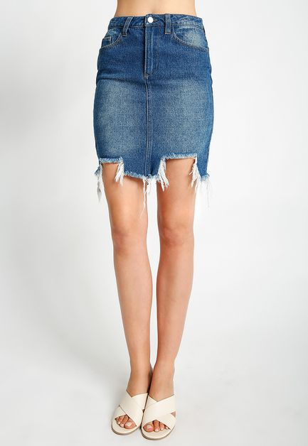 DESTRUCTED UNEVEN HEM DENIM SKIRT - orangeshine.com