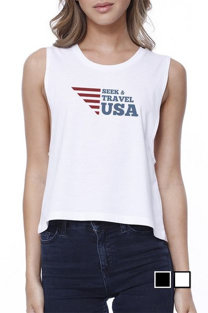 SEEK & TRAVEL USA Crop Tee - orangeshine.com