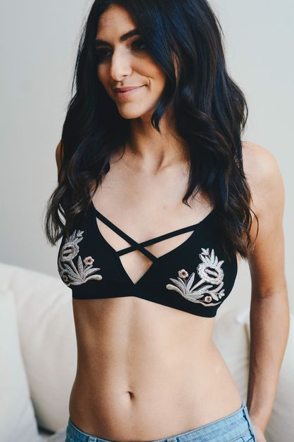 Floral Embroidery Patch Strap Bralet - orangeshine.com