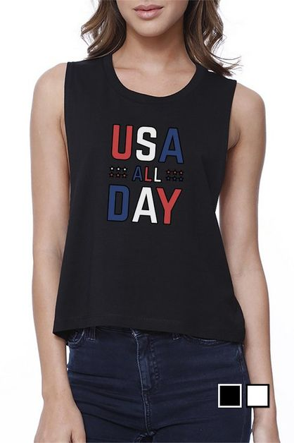 USA ALL DAY Crop Tee - orangeshine.com