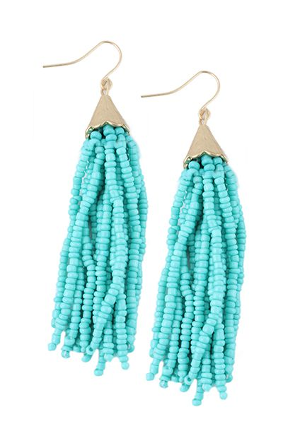 Beaded Tassel Earrings - orangeshine.com