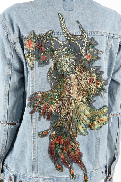OVERSIZE SEQUINS DENIM JACKET - orangeshine.com