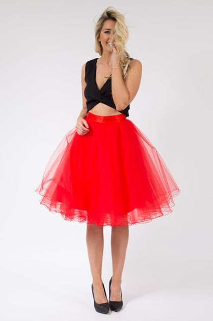 Red Midi Tulle Skirt - orangeshine.com