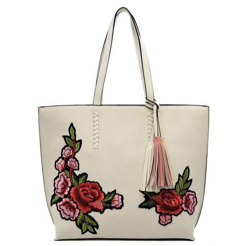 Embroidered Flower Shopper Bag - orangeshine.com