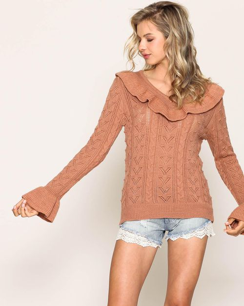 CABLE KNIT RUFFLE SWEATER - orangeshine.com