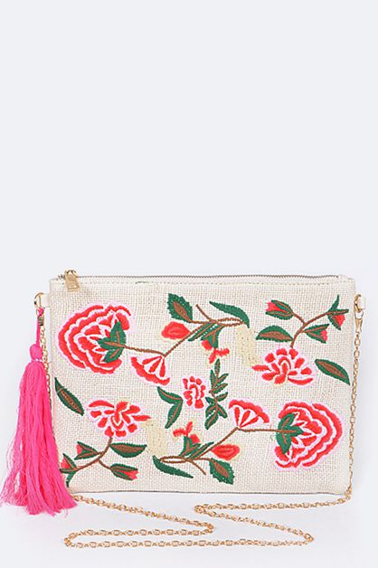 Floral Patched Convertible Clutch Ba - orangeshine.com