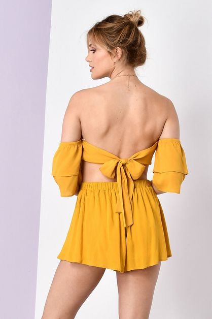 SOLID RUFFLE TUBE TOP AND SHORT SET  - orangeshine.com