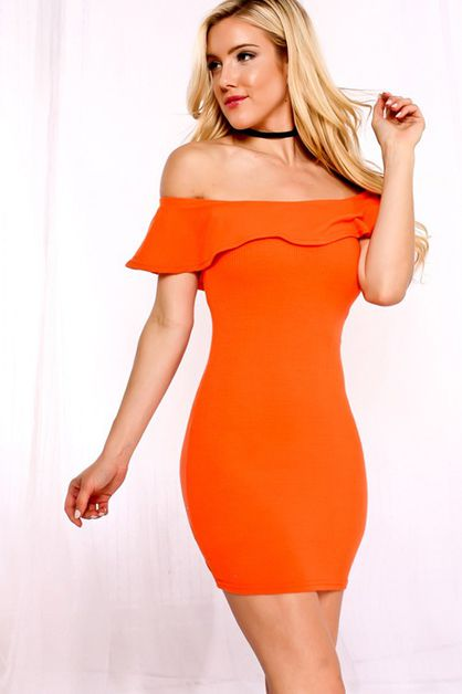 OFF SHOULDER RUFFLED PARTY DRESS - orangeshine.com