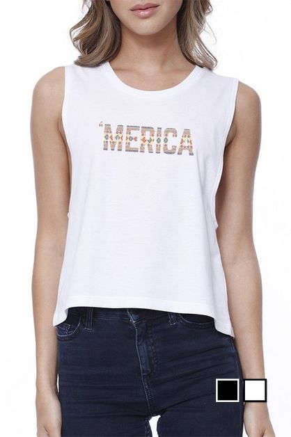 TRIBAL PATTERN WITH `MERICA Crop Tee - orangeshine.com