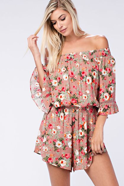 FLORAL PRINT OFF THE SHOULDER ROMPER - orangeshine.com