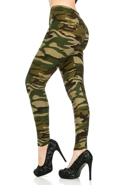Camo Print Brushed Leggings - orangeshine.com