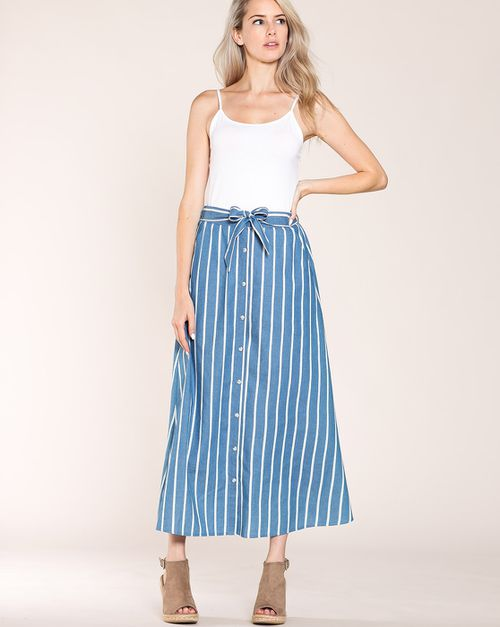 BUTTON DOWN DENIM MAXI SKIRT - orangeshine.com