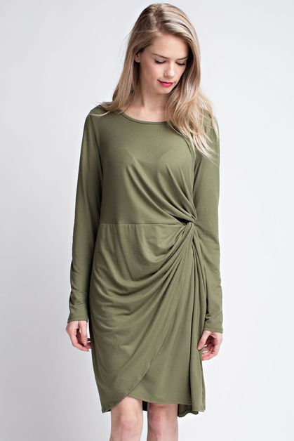 A Rayon Span solid drapping dress - orangeshine.com
