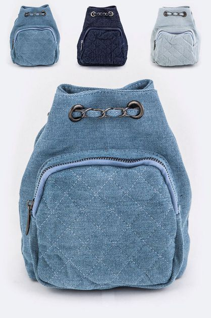 Quilted Denim Drawstring Backpack - orangeshine.com