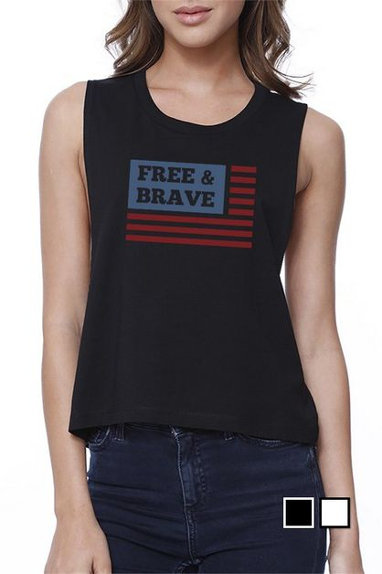 FREE & BRAVE US FLAG Crop Tee - orangeshine.com