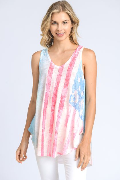 American Flag Printed Tank Top - orangeshine.com