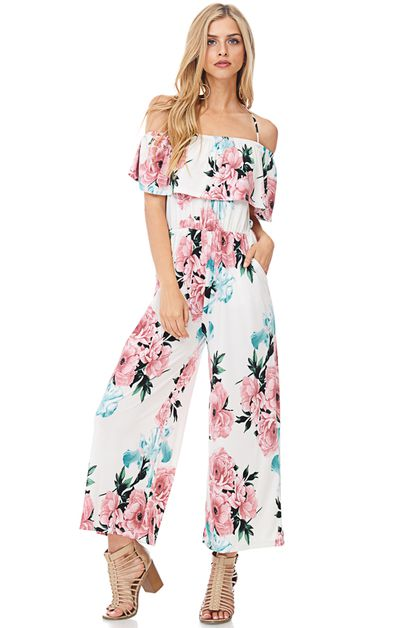 FLORAL PRINT OFF-SHOULDER JUMPSUIT - orangeshine.com
