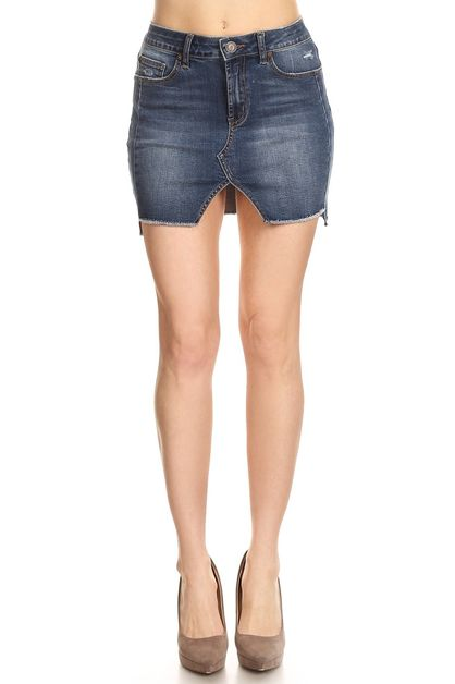 High waisted denim mini skirt  - orangeshine.com