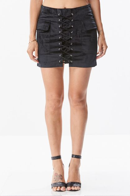 Suede Lace Up Mini Skirt - orangeshine.com