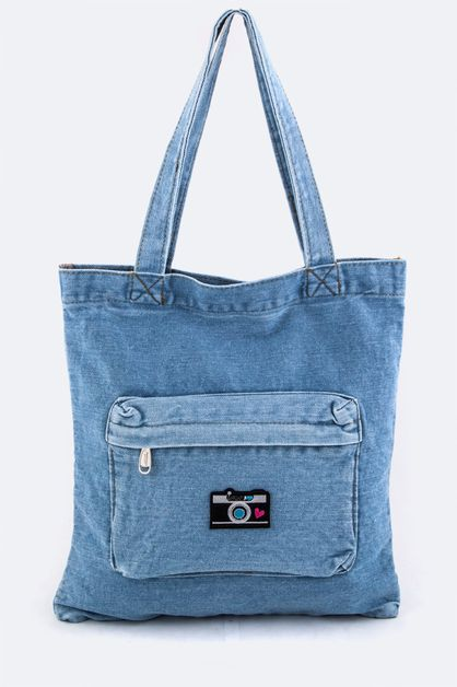 Camera Patched Denim Tote - orangeshine.com